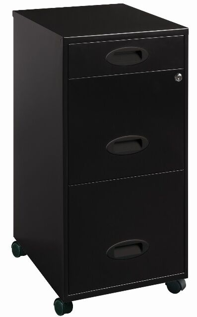 3 drawer mobile file cabinet black filing cabinets home office furniture metal ebay - Types of file cabinets for a home office ...