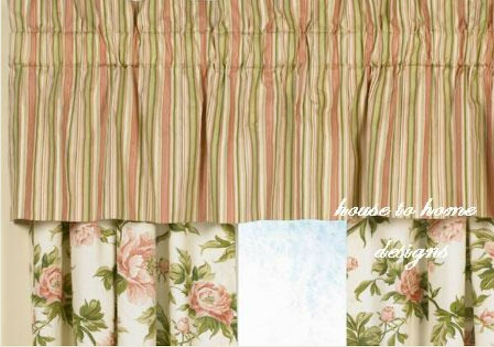 Pink Sage Green Stripe Window Valance Garden Dream Cottage Stripes ...