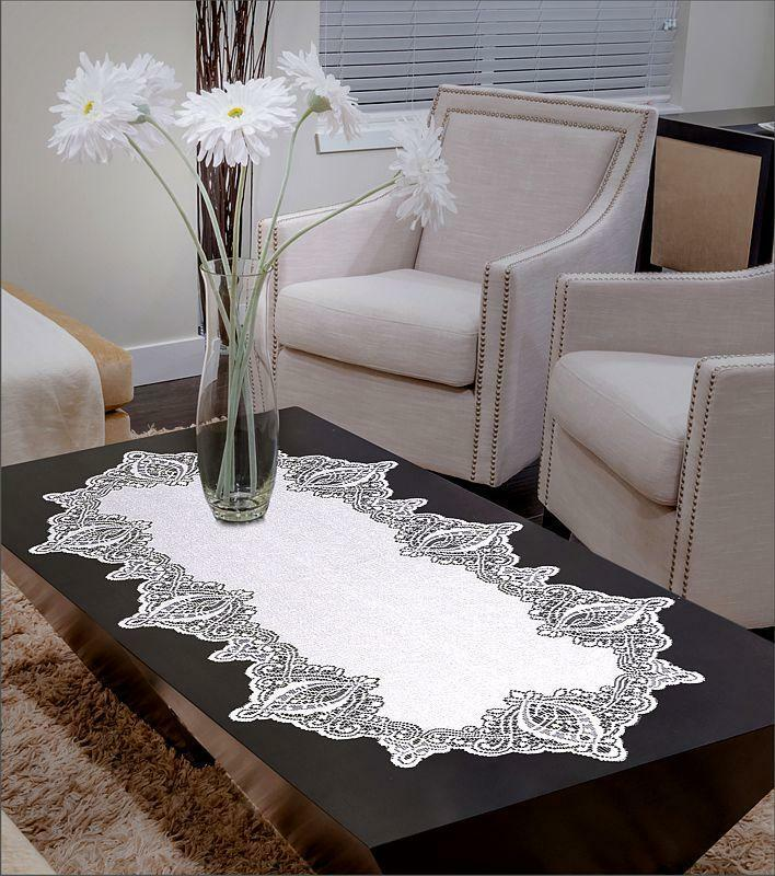 Lace Table Runner White Oval High Quality 24 Quot X 47 Quot 60cm