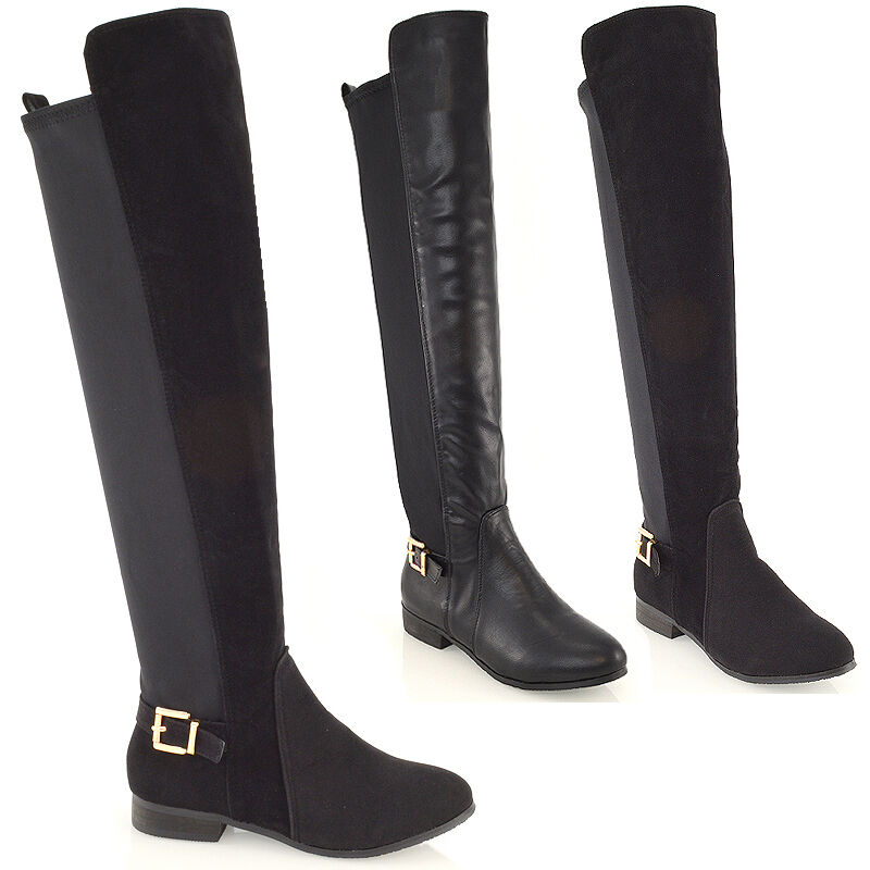 the knee high flat pull on buckle elasticated