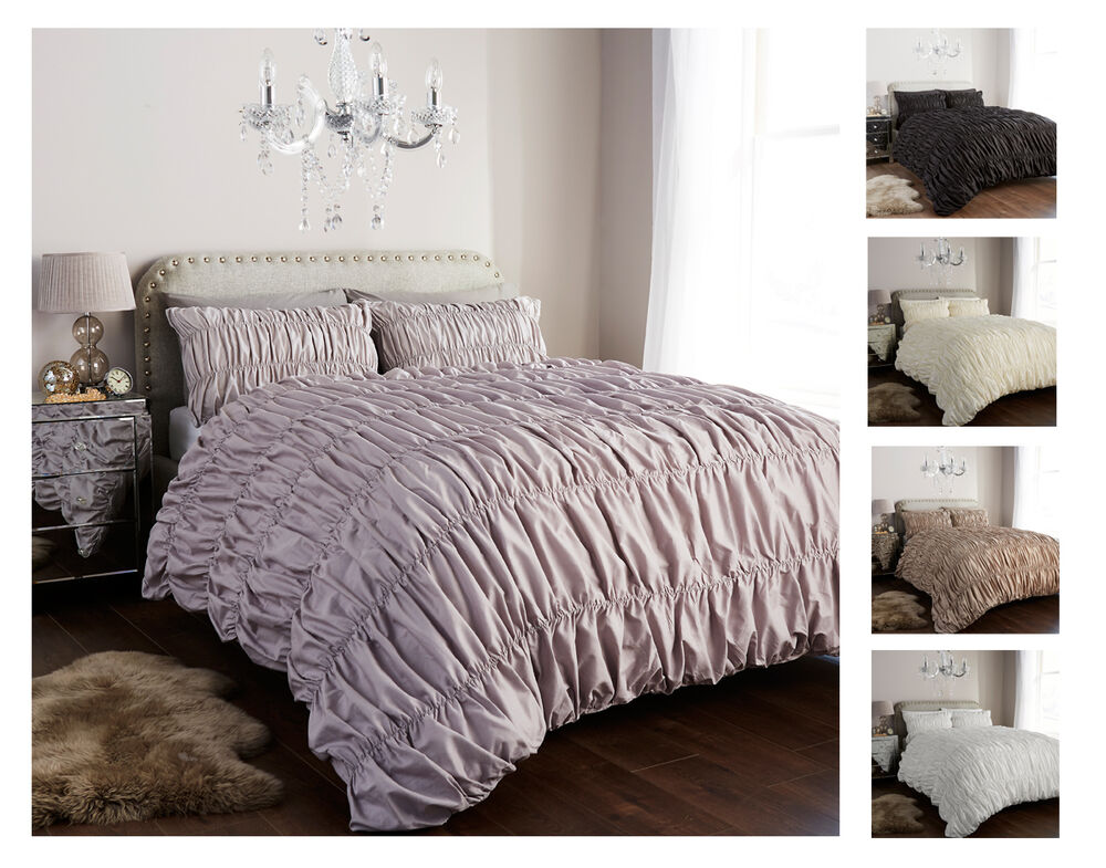 Designer Ruched Duvet Cover Set With Pillow Cases Luxury