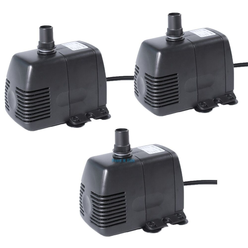 3x 370 gph submersible pump aquarium pond powerhead for Fish water pump