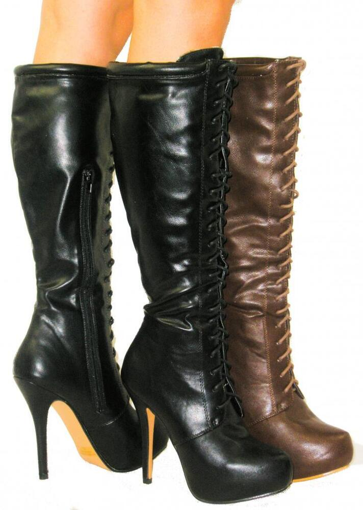 amazing lace up combat boots high heel