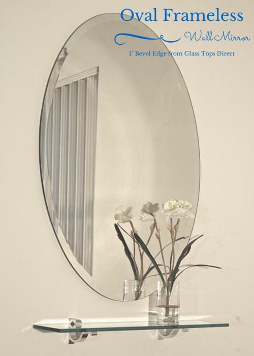 Oval Frameless Wall Mirror With Beveled Edge Bathroom
