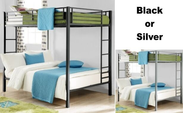 full over full size metal bunk bed beds heavy duty sturdy kids bedroom furniture ebay. Black Bedroom Furniture Sets. Home Design Ideas