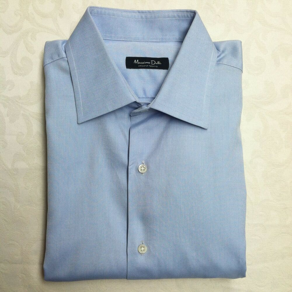 Massimo dutti mens dress shirt size 17 35 solid blue for Cuff shirts for men
