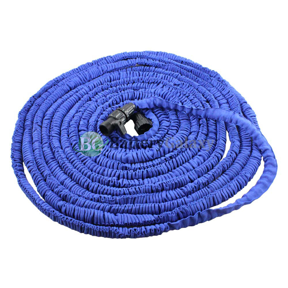 Deluxe 100 feet 100ft expandable flexible garden lawn water hose nozzle blue ebay Expandable garden hose 100 ft