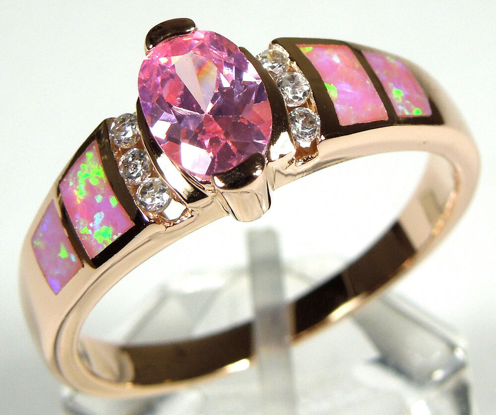 Rose Gold Plated Pink Topaz Amp Pink Fire Opal Inlay 925