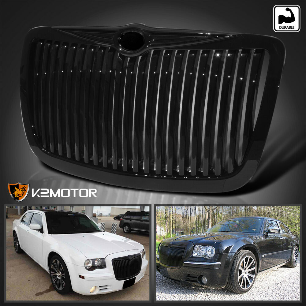 2011 2014 Chrysler 300 300c Fog Light Stainless Steel Mesh: 2005-2010 Chrysler 300 300C Shinny Black Vertical Front
