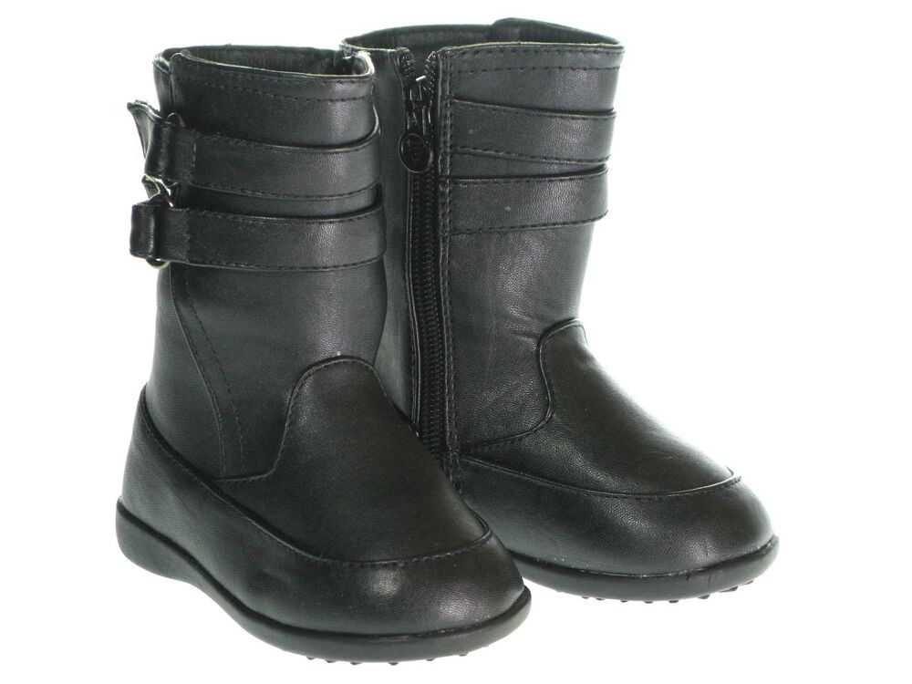 New Toddler Faux Leather Zip Up Boots Shoes Fall Winter