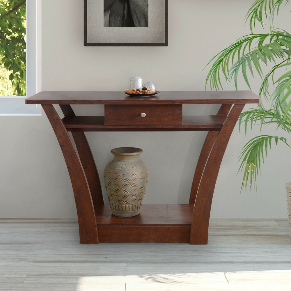 contemporary console tables furniture of america magnolia modern 1 drawer walnut 29616
