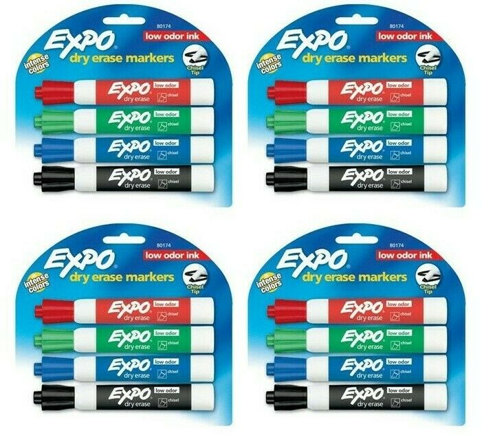 BTGO Expo Low Odor Chisel Tip Dry Erase Markers, 4 Colored