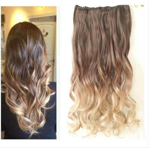 20 quot 22 quot clip in hair extensions ombre dip dye full head wavy curly