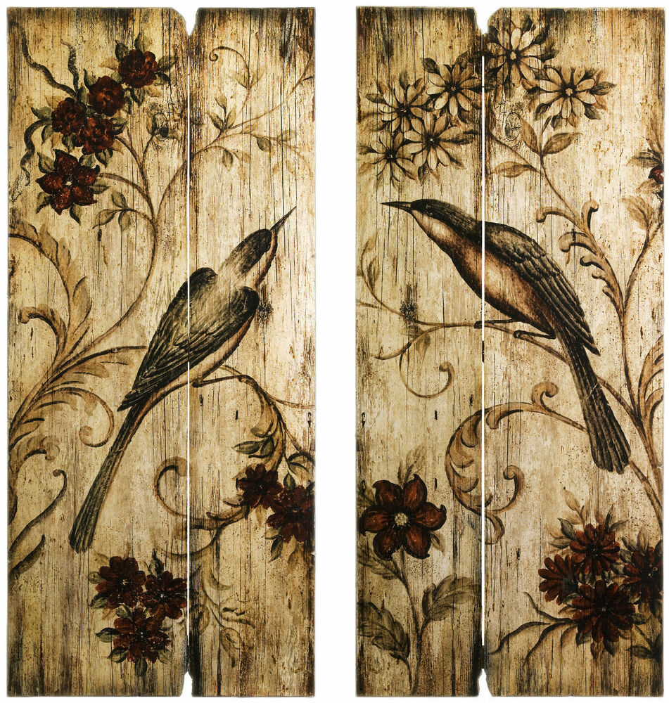 Rustic country wall art set birds flowers 2 wood panels 39 for Wooden art home decorations