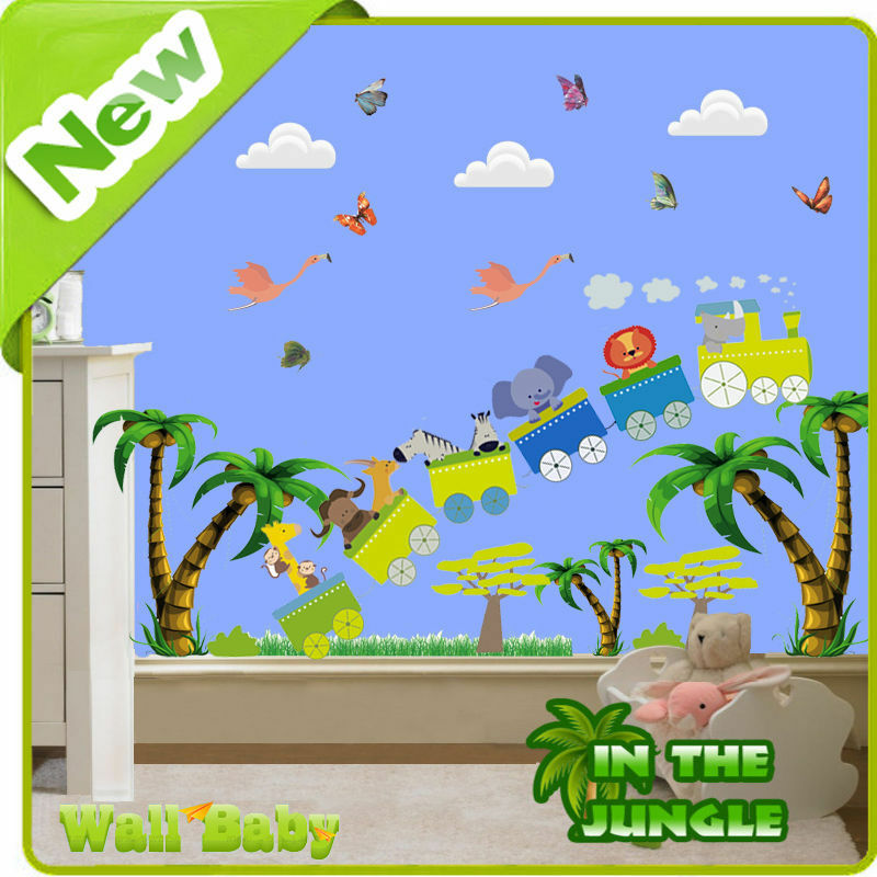 Animal wall stickers zoo jungle train tree nursery baby for Baby jungle mural