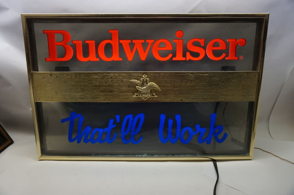 Vintage Budweiser Sign Light Lighted Bar That Ll Work Bud
