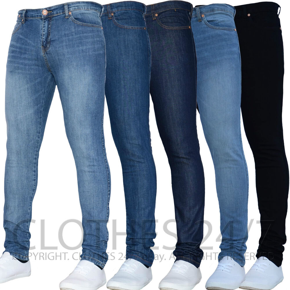 Mens Super Stretch Spray On Tight Denim Skinny Designer Branded