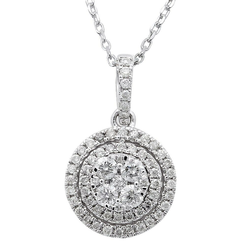 87ct round diamond halo solitaire drop necklace pendant. Black Bedroom Furniture Sets. Home Design Ideas