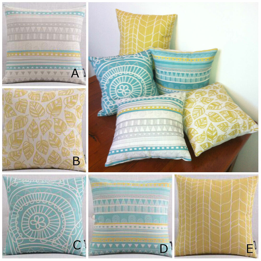 Gorgeous Yellow Teal Turquoise And Grey Cushion Covers