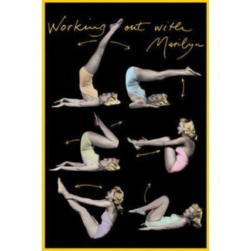 Pilates Mat Exercise Poster: WORKING OUT WITH MARILYN MONROE