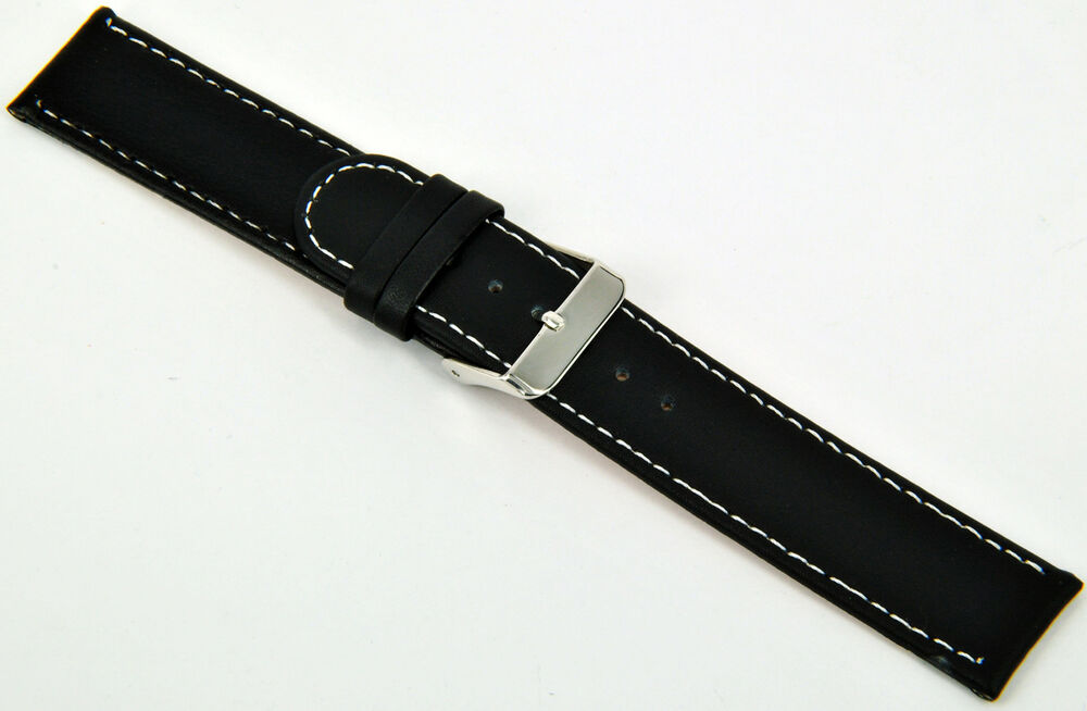 18mm leder uhrenarmband schwarz glatt mit wei e naht armband uhr band strap ebay. Black Bedroom Furniture Sets. Home Design Ideas