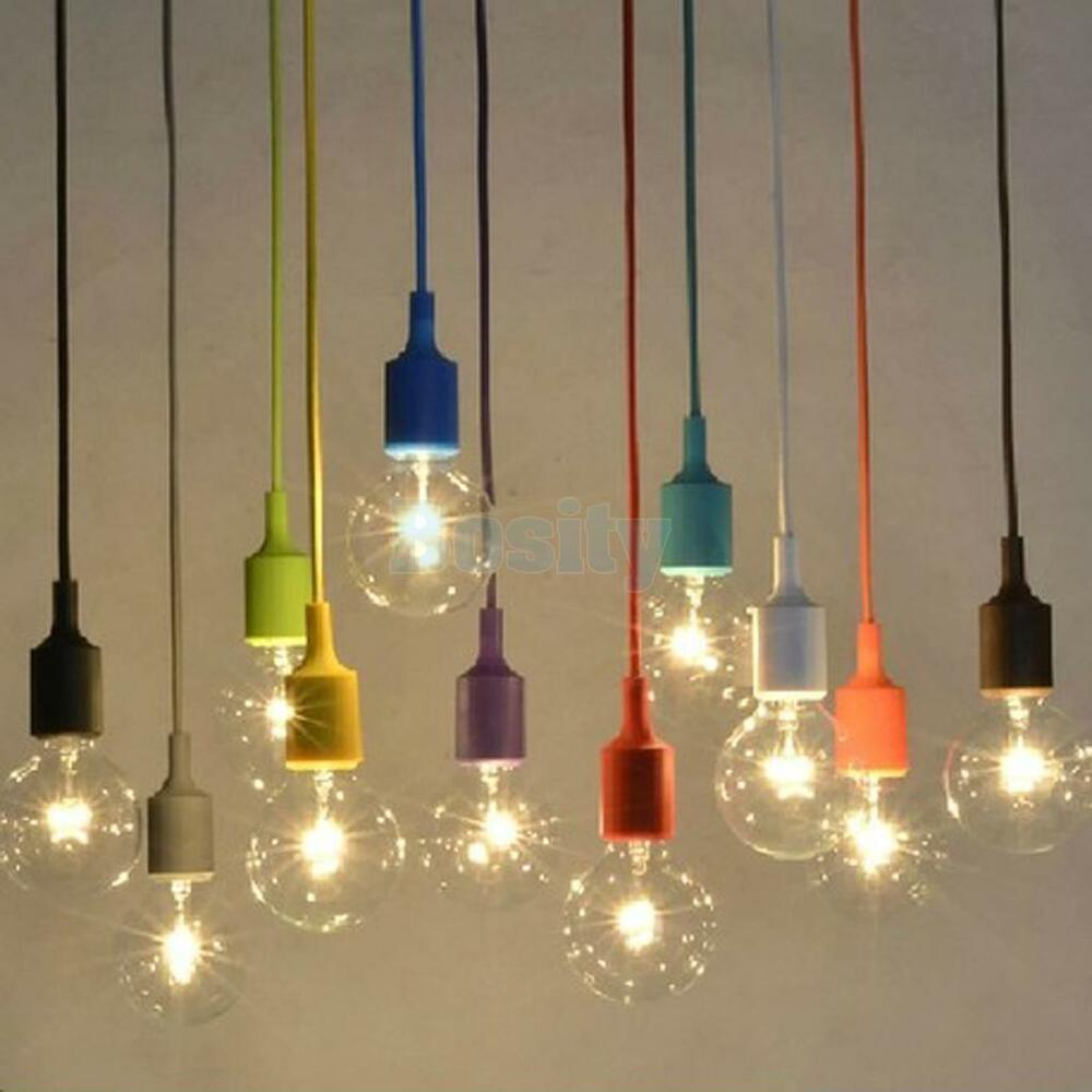 Silica gel e27 home ceiling pendant lamp light bulb holder for Diy pendant light
