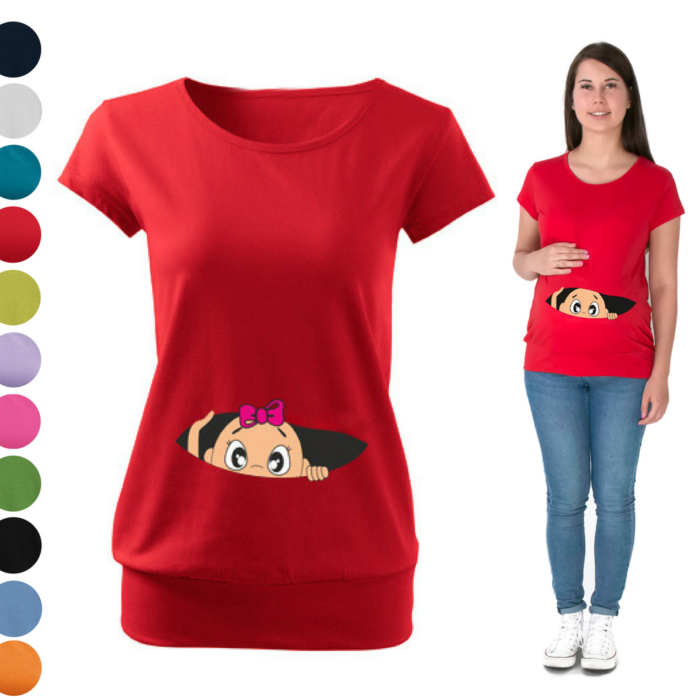 Maternity Pregnancy T Shirt Top Funny Peek A Boo Baby