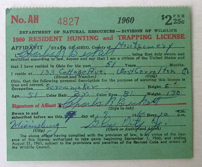 1960 state of ohio resident hunting and trapping license for Ohio state fishing license