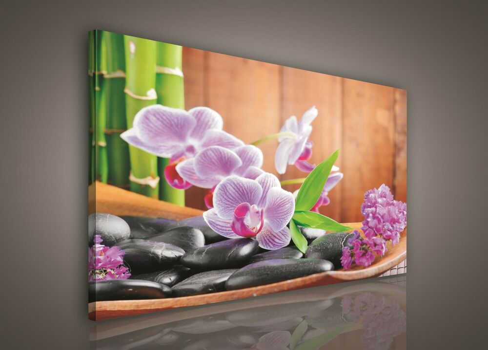 leinwand bild wandbild bilder pp106o1 orchideen blumen abstrakt 100x75cm ebay. Black Bedroom Furniture Sets. Home Design Ideas