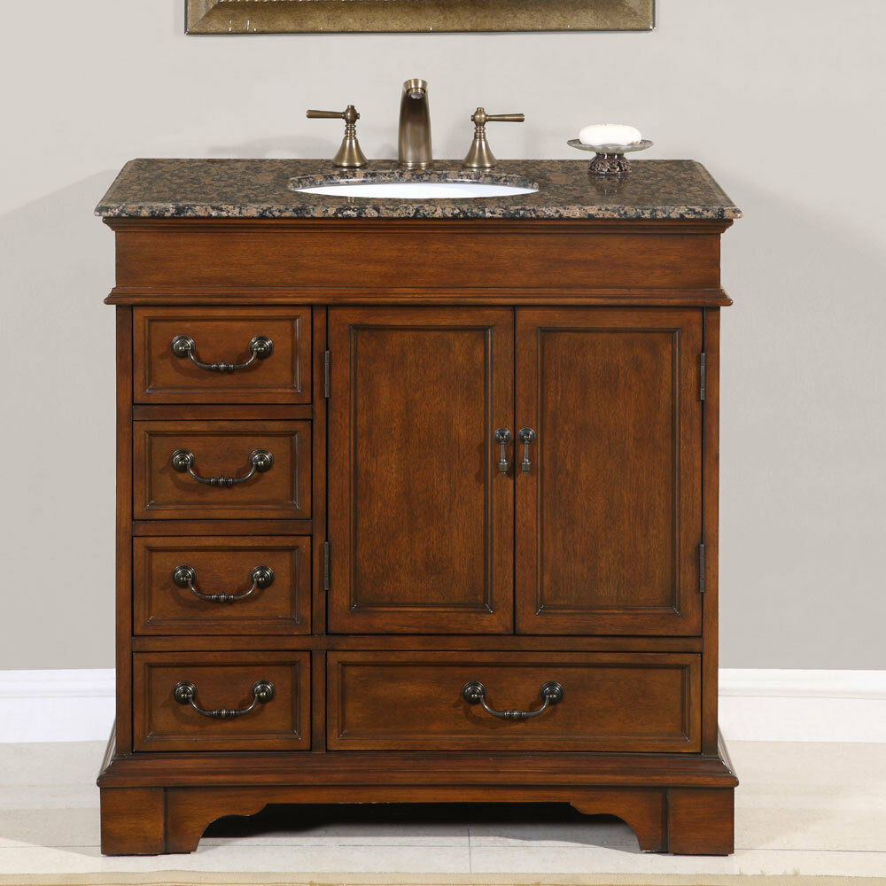 "36"" Single Granite Stone Top Bathroom Vanity Lavatory White Sink Cabinet 212BB"