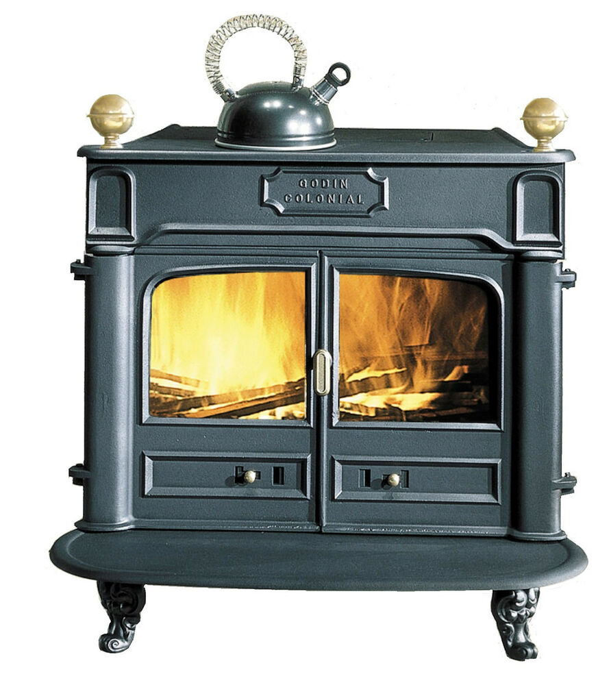 NEW French 9.5kw Godin Colonial Franklin Cast Iron Wood Burner Stove Black  | eBay - NEW French 9.5kw Godin Colonial Franklin Cast Iron Wood Burner
