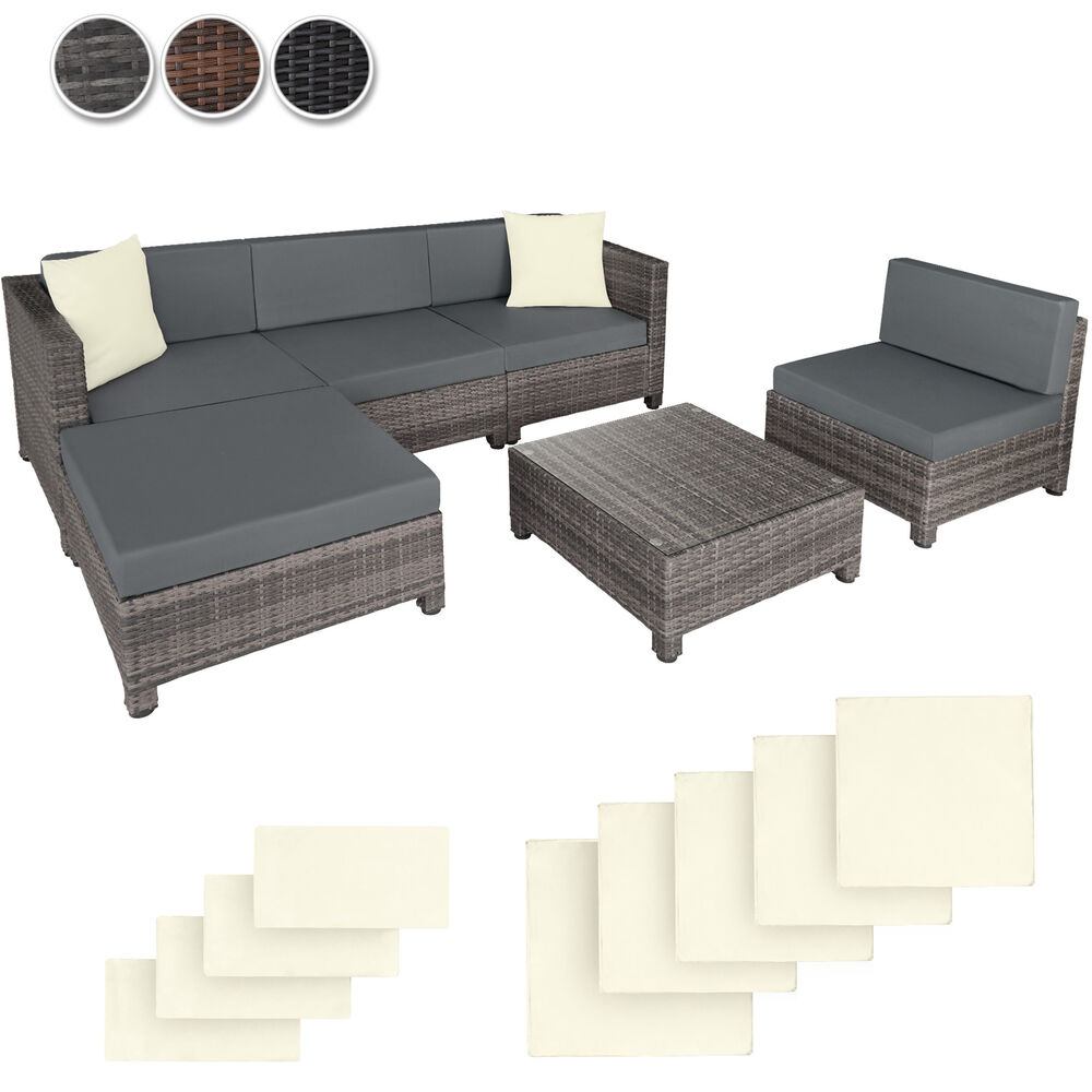 poly rattan aluminium sofa sitzgruppe gartenm bel lounge m bel 2 bez ge ebay. Black Bedroom Furniture Sets. Home Design Ideas