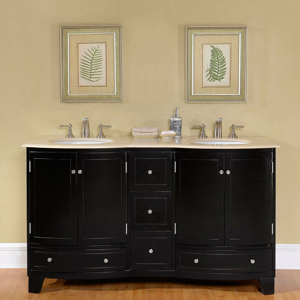 60 marble top double white sink bathroom vanity espresso cabinet