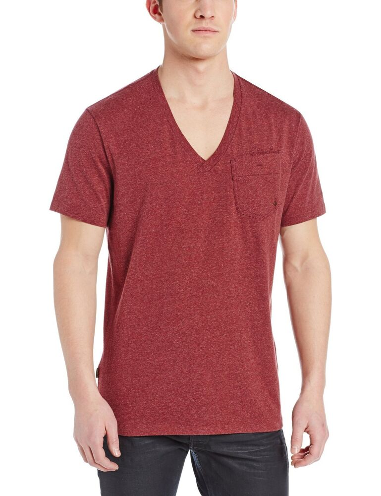 Men 39 s g star raw v neck pocket tee t shirt maroon burgundy for Large v neck t shirts
