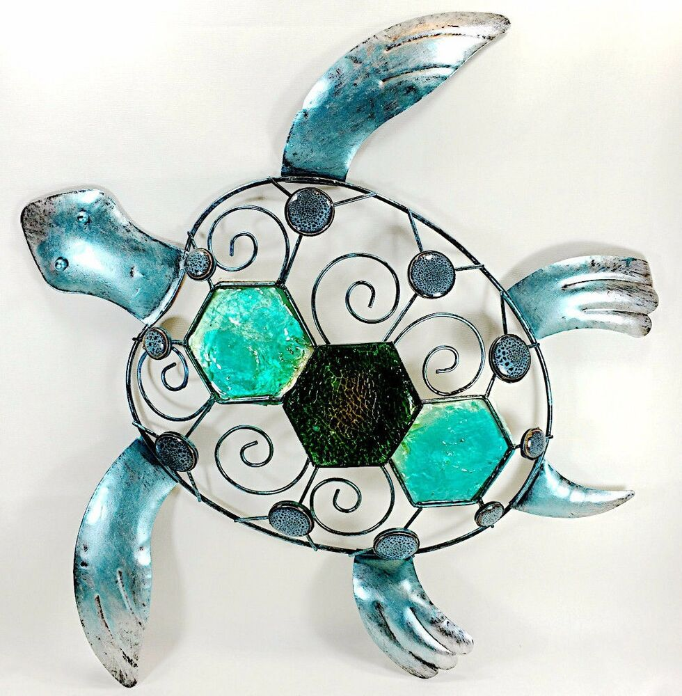 Sea Turtle Metal And Jeweled Wall Art Sea Life Home Decor