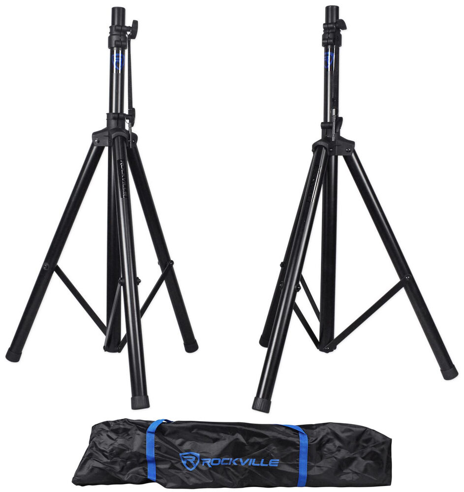 pair rockville rves1 adjustable tripod dj pa speaker stands carry bag universal ebay. Black Bedroom Furniture Sets. Home Design Ideas