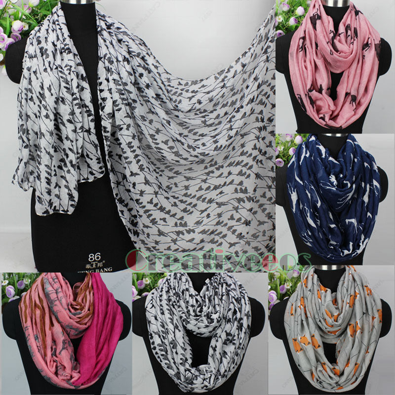 s fashion scarves animal pattern print casual