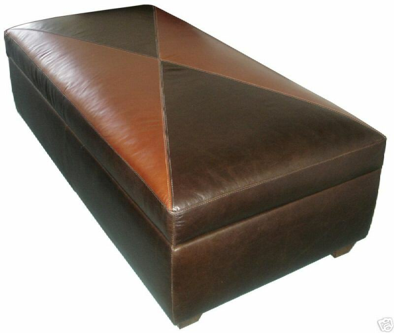 Contemporary Genuine Leather Storage Bench Coffee Table