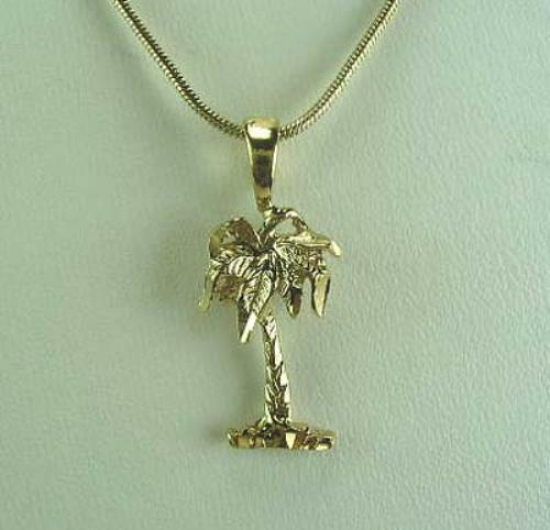18 necklace with palm tree pendant 18k gold plated for Is gold plated jewelry worth anything
