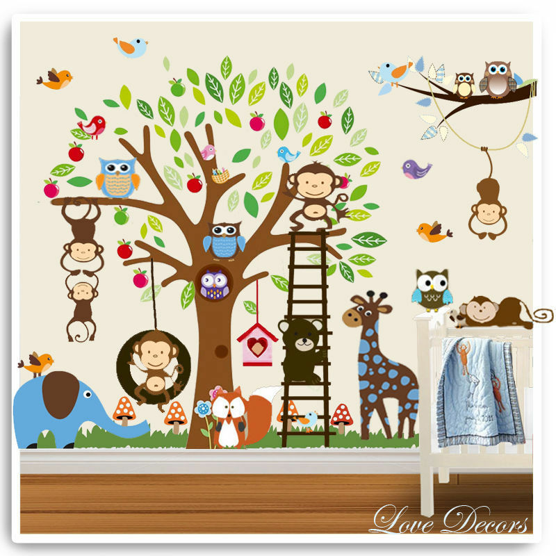 Animal owl wall stickers monkey jungle zoo tree nursery for Baby jungle safari wall mural