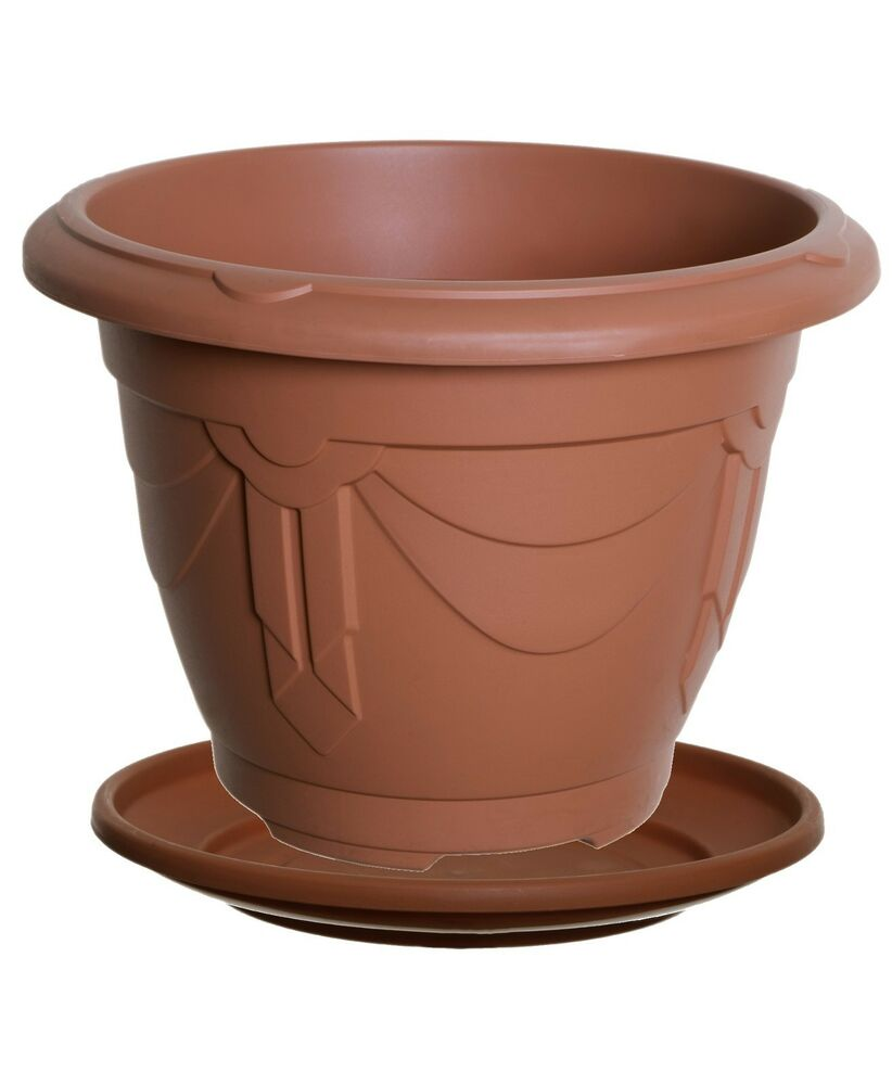Round base venetian plant pots cultivation with saucers terracotta planter value ebay - Indoor plant pots with saucers ...