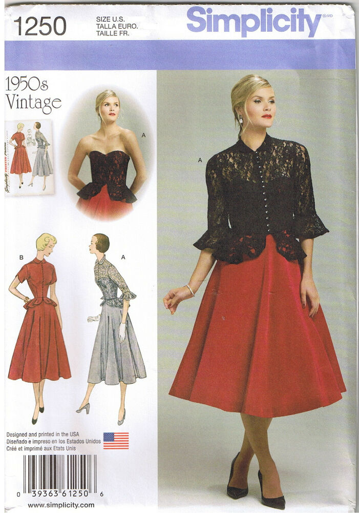 Vintage 50s Peplum Corset Dress Jacket Simplicity Sewing ...