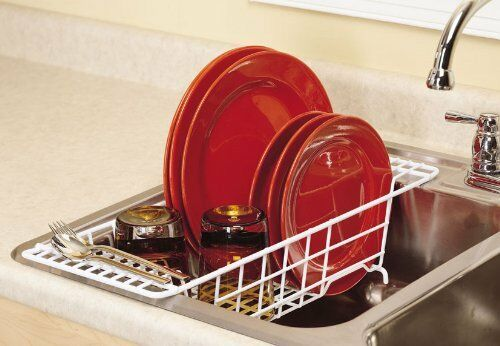 Closetmaid over the sink dish rack drainer organizer kitchen space saver storage ebay - Dish rack for small space collection ...