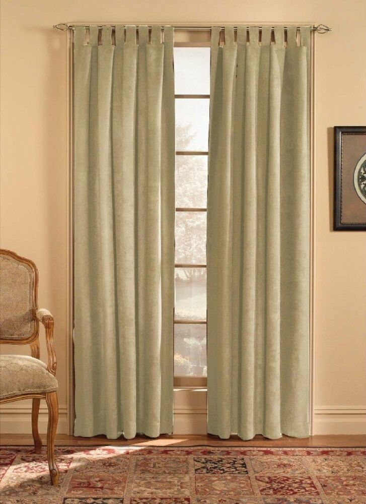 Chf Amp You Ultra Suede Tab Top Window Curtain Panel Beige