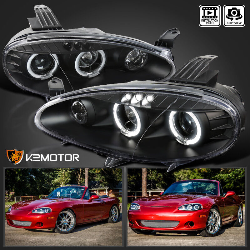 Mazda Miata Parts >> 2001-2005 Mazda Miata MX5 Black Halo Projector Headlights ...
