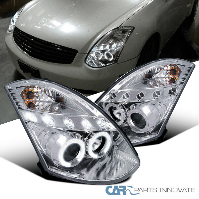 2003 Infiniti G35 Coupe >> For 2003-2007 Infiniti G35 2Dr Coupe Chrome Clear LED Halo Projector Headlights | eBay
