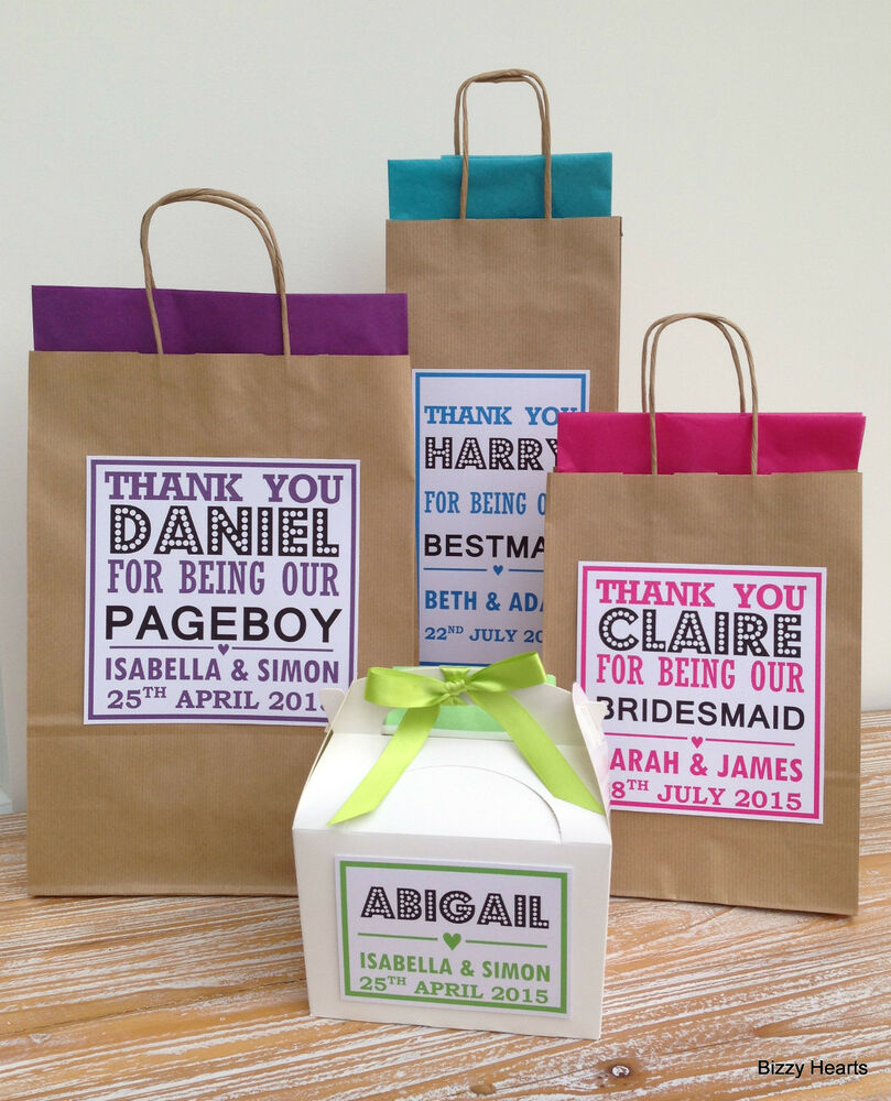 Personalised Wedding Gift Bags Uk : PERSONALISED PAPER WEDDING GIFT BAGS PARTY FAVOUR WITH TISSUE BROWN ...