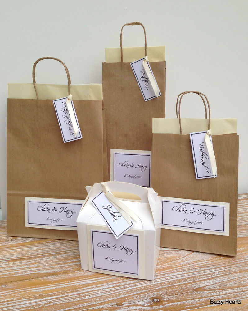Personalised Wedding Gift Bags Uk : PERSONALISED LUXURY PAPER WEDDING GIFT BAGS PARTY FAVOUR WITH TISSUE ...