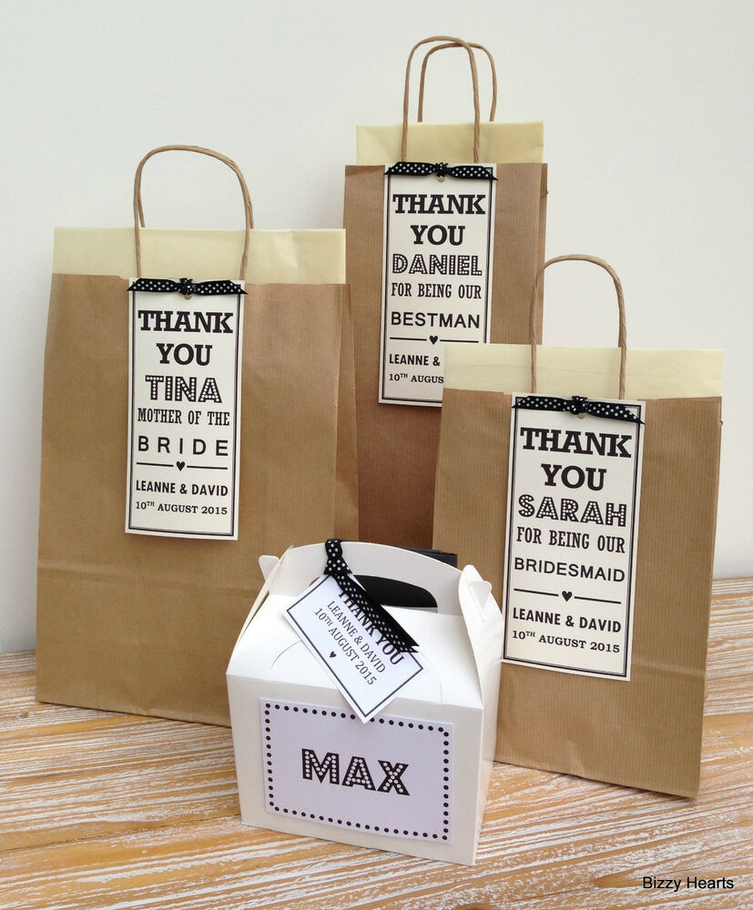 Personalised Wedding Gift Bags Uk : PERSONALISED LUXURY PAPER WEDDING GIFT BAGS PARTY FAVOUR BROWN SPOTTY ...