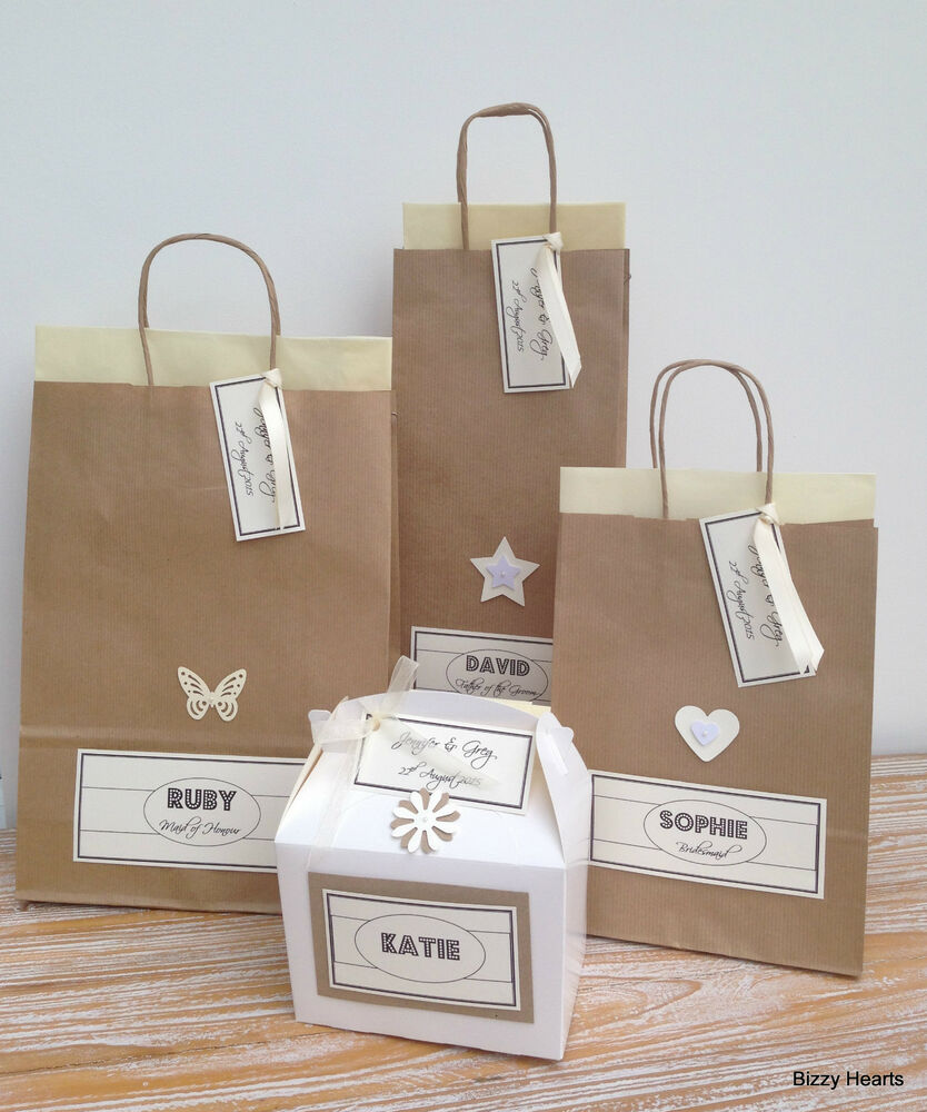 Personalised Wedding Gift Bags Uk : PERSONALISED PAPER VINTAGE STYLE WEDDING GIFT BAGS PARTY FAVOUR TISSUE ...